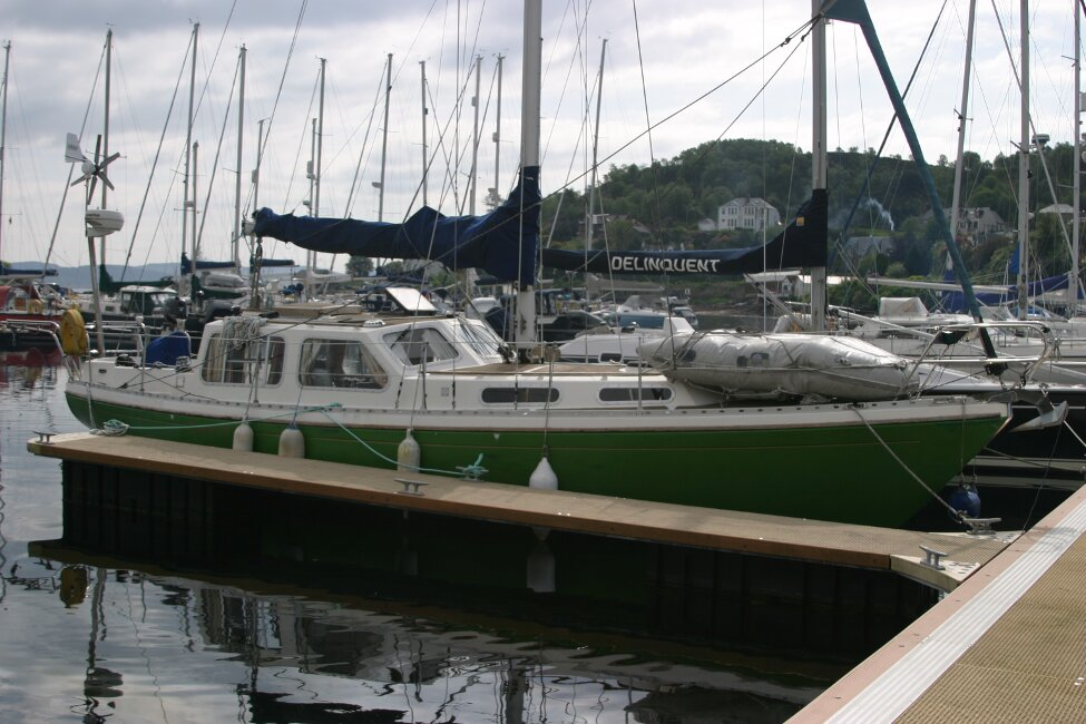 Trident Voyager 35for sale Starboard view at berth -