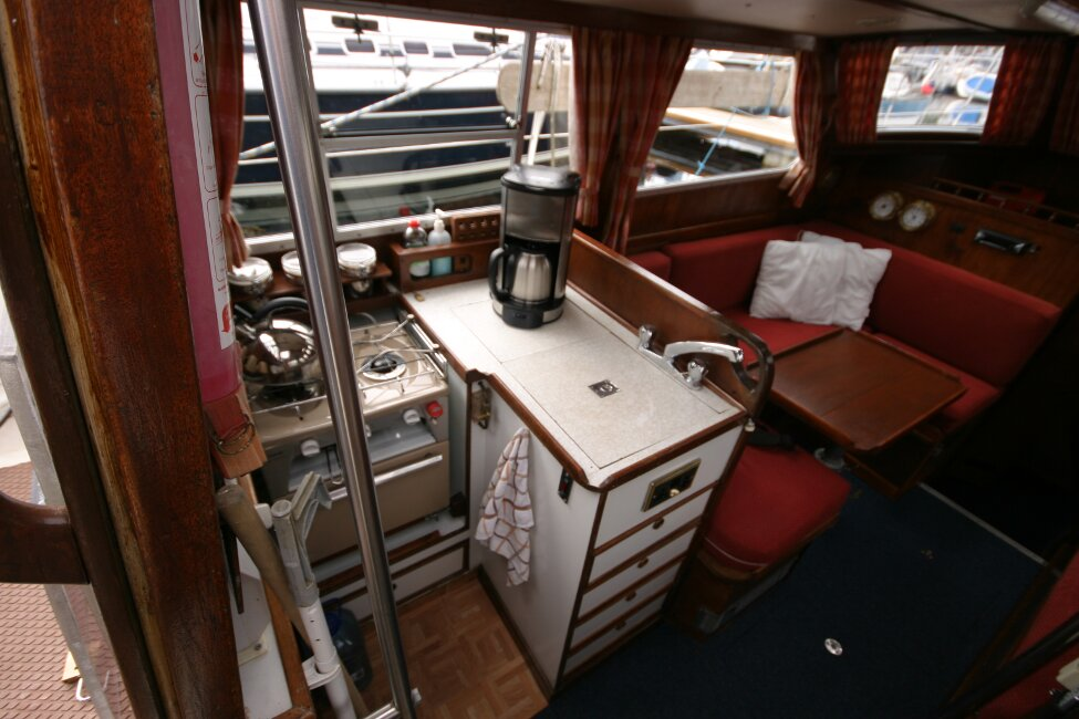 Trident Voyager 35for sale Saloon from companionway - Looking to port