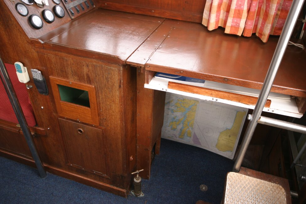 Trident Voyager 35for sale Nav station and inside helm position - Starboard side