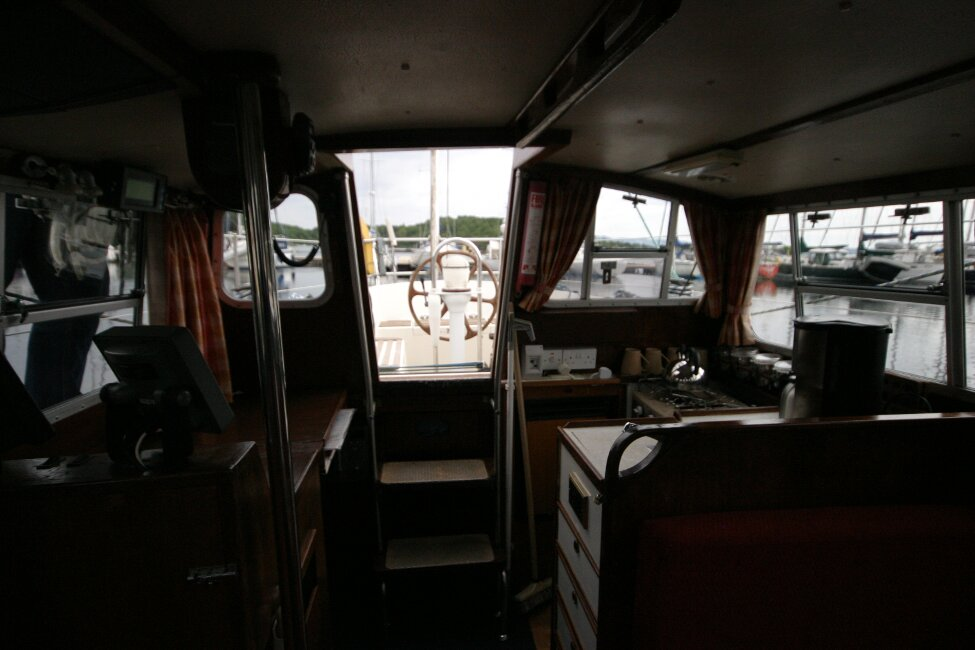 Trident Voyager 35for sale Looking out past galley and nav station -