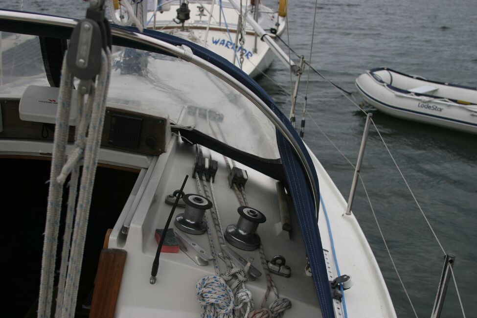 Sadler 29for sale Starboard side looking forward from the cockpit -