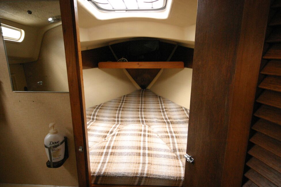 Sadler 29for sale Entrance to forward cabin - V berth with infill