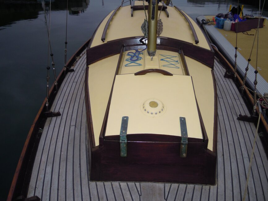Wooden Classic 29 foot Bermudan Sloop View aft from foredeck
