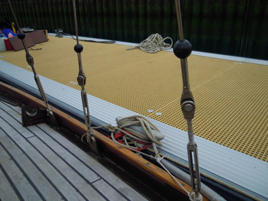 Wooden Classic 29 foot Bermudan Sloop Shrouds and turnbuckles, port side