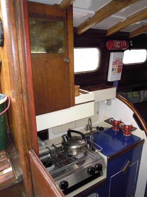 Wooden Classic 29 foot Bermudan Sloopfor sale Galley - cover ofer sink - Owner's photo