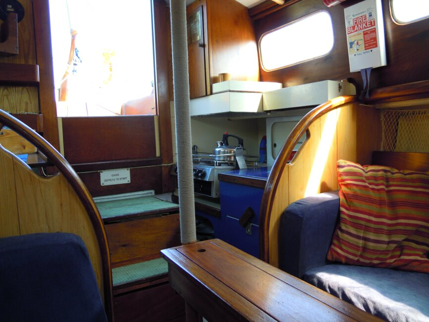 Wooden Classic 29 foot Bermudan Sloopfor sale Galley - on port side  - Owner's photo