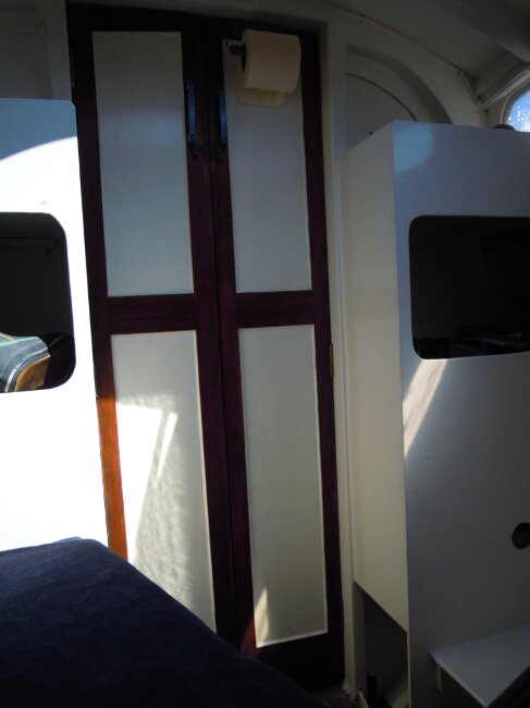 Wooden Classic 29 foot Bermudan Sloopfor sale Forcabin view aft with door closed - Owner's photo