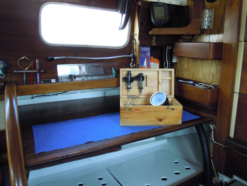 Wooden Classic 29 foot Bermudan Sloopfor sale Chart table - Trailing log in box.