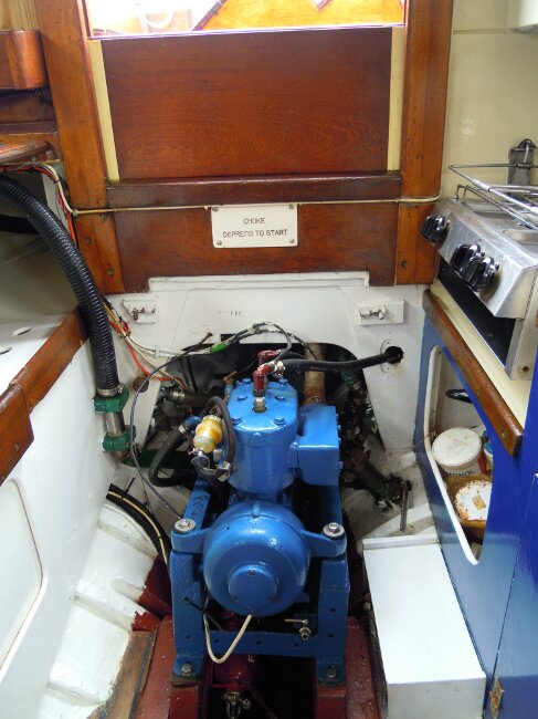 Wooden Classic 29 foot Bermudan Sloopfor sale Engine, beneath companionway steps. - Owner's photo