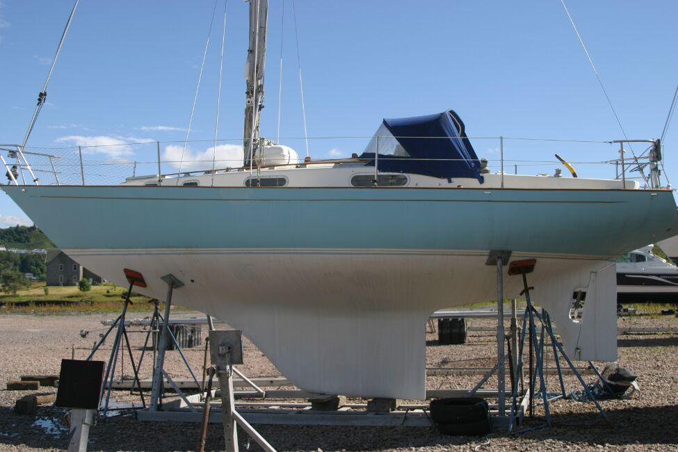 Contessa 32for sale Port side - Laid up in the boatyard