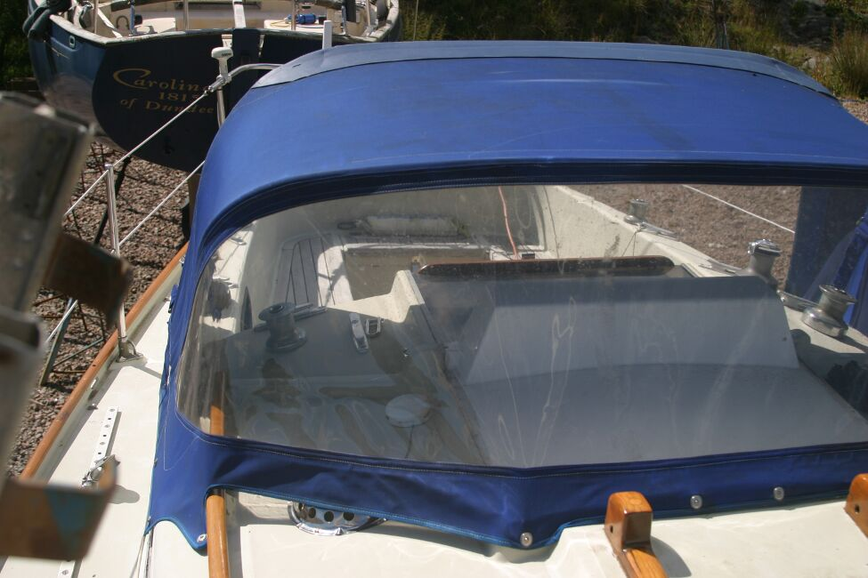 Contessa 32for sale Spray hood, starboard side. -