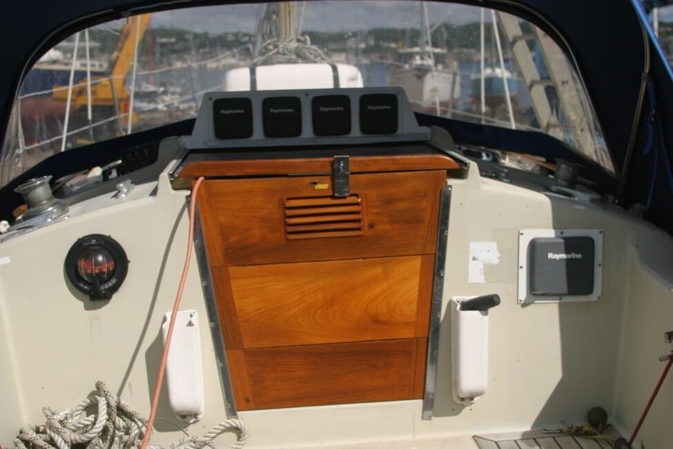 Contessa 32for sale Companionway from the cockpit -