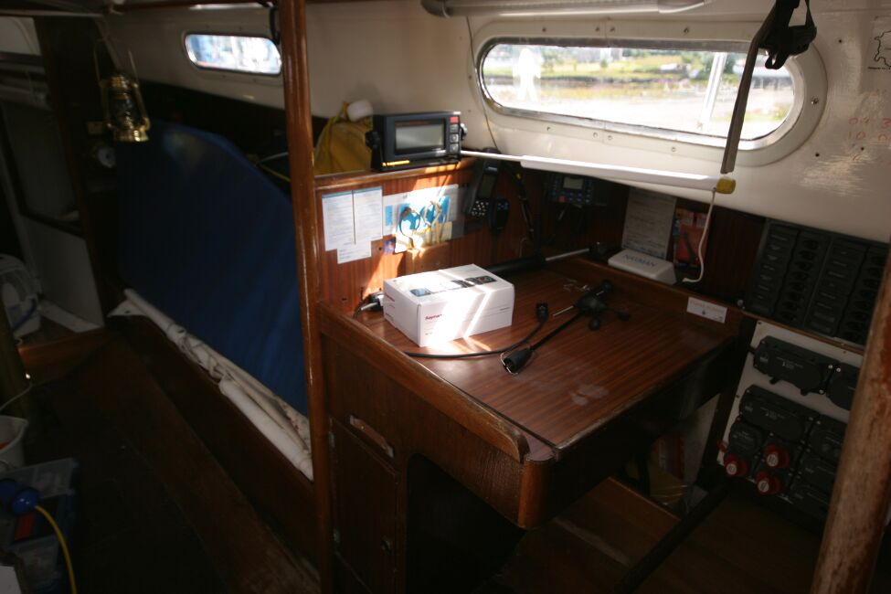 Contessa 32for sale Nav station, starboard side - from the companionway steps