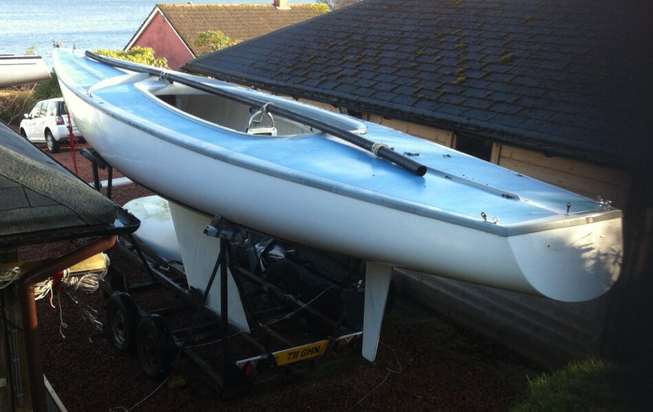 Soling International 27for sale Sitting on her trailer -
