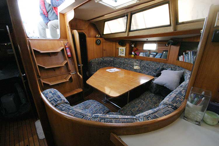 Jeanneau Trinidad 48 Ketchfor sale Saloon area viewed from forward -