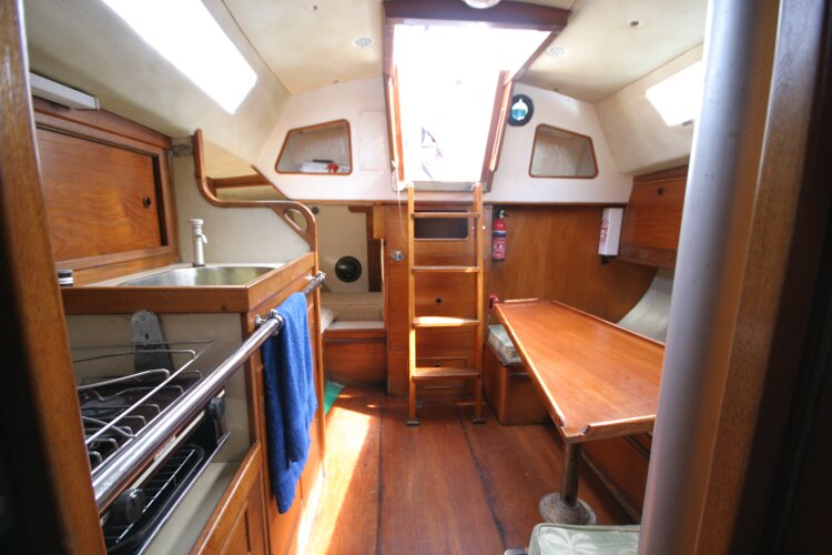 Colvic UFO 27for sale Looking Aft from Forward Cabin Door -